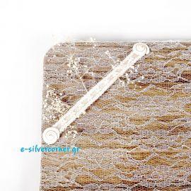 Δίσκος Ξύλινος με εκρού λινάτσα, δαντέλα και κοχύλιαCSC510/LN