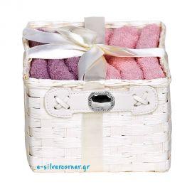 Καλάθι με 6 Πετσέτες Ροζ και Ασήμι