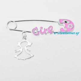 Silver Baby Girl's Pin