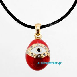 Fashion Egg Easter Charm/Pendant with Cord in Red