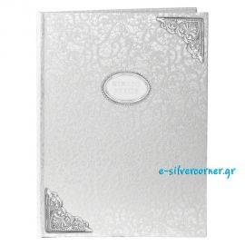 Silver Wedding Guest Book with Silver-Plated Textured Angles and Lace