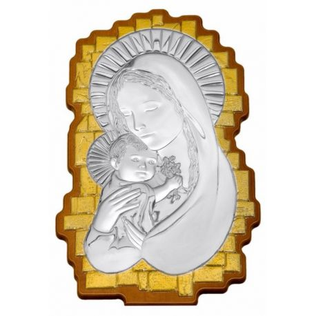 Wavy-Shaped Silver Madonna & Child Icon with Gold Embellishments - 35 x 23 cm