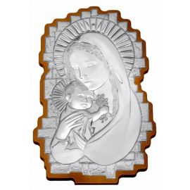 Wavy-Shaped Silver Madonna Icon - 35 x 23 cm