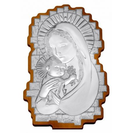 Wavy-Shaped Silver Madonna Icon - 35 x 23 cm