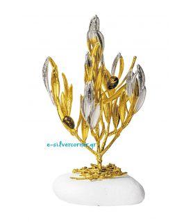 Φυσικό Κλωνάρι Ελιάς Χρυσός - Ασήμι