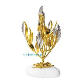 Φυσικό Κλαδί Ελιάς Χρυσός - Ασήμι
