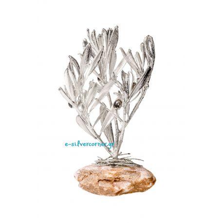 Φυσικό Κλωνάρι Ελιάς Ασήμι