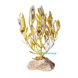 Φυσικό Κλωνάρι Ελιάς Xρυσός- Ασήμι