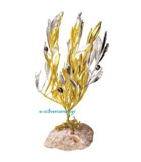 Φυσικό Κλωνάρι Ελιάς Μεγάλο Χρυσός - Ασήμι