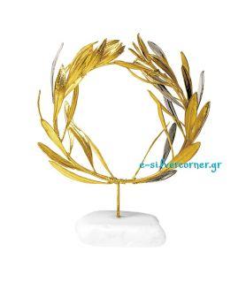 Φυσικό Στεφάνι Ελιάς Ασήμι-Χρυσός