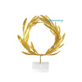 Φυσικό Στεφάνι Ελιάς Χρυσό-Plexi glass