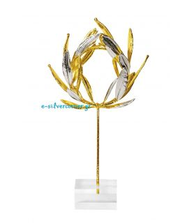 Φυσικό Στεφάνι Ελιάς Χρυσό-Ασήμι με Plexi glass