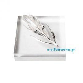 Silver Olive Branch in Plexiglass