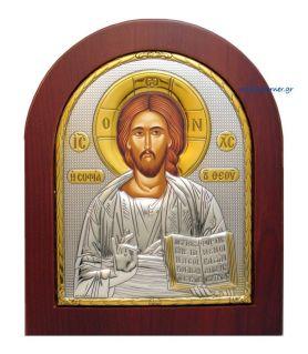Ασημένια εικόνα Κύριος Θεού Σοφία (χρυσή διακόσμηση)