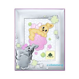 Bunny Silver Picture Frame in Pink