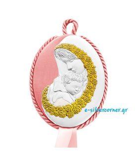 Εικόνα Παιδική Οβάλ με Χρυσή Διακόσμηση Ροζ 2