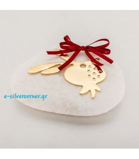 Gold-plated Pomegranate Charm on White Pebble