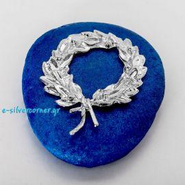 Στεφάνι κότινος επάργυρο σε μπλε πέτρα
