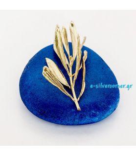 Πρες παπιέ φυσικό κλαδί ελιάς σε φυσική πέτρα μπλε