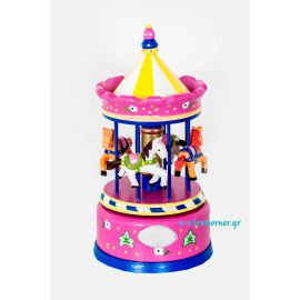 Pink Musical Carousel with Silver - 22 cm