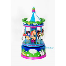 Blue Musical Carousel with Silver - 22 cm