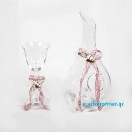 Ποτήρι κρασιού για Γάμο 128 με δαντέλα