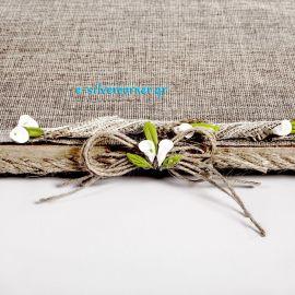 Δίσκος Ξύλινος με λινάτσα, δαντέλα και πορσελάνινα λουλούδια