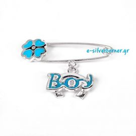 Silver Baby Boy's Pin with Blue Enamel and a Horseshoe