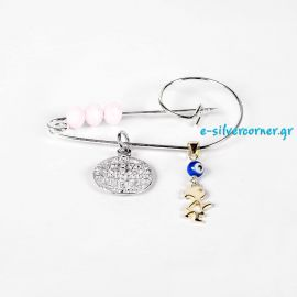 Sterling Silver Baby Girl's Pin with Byzantine Talisman