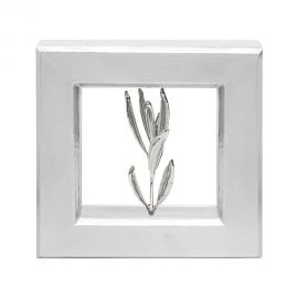 Silver Picture Frame with Real Olive Branch