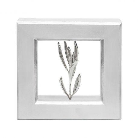 Κάδρο Ασημί με Φυσικό Κλαδί Ελιάς Silver