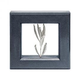 Κάδρο με Φυσικό Κλαδί Ελιάς Silver