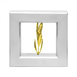 Silver Picture Frame with Real Olive Branch - Gold