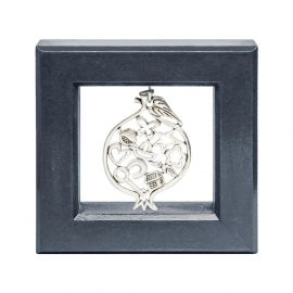 Silver Picture Frame with Silver Pomegranate
