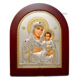 Ασημένια εικόνα Υπεραγία Θεοτόκος Ιεροσολυμίτισσα με επίχρυση διακόσμηση