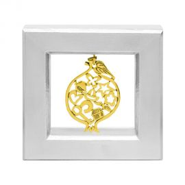 Silver Picture Frame with Gold Pomegranate