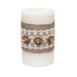 κερί με λινάτσα και δαντέλα
