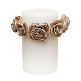 Κερί με χειροποίητα σατέν τριαντάφυλλα
