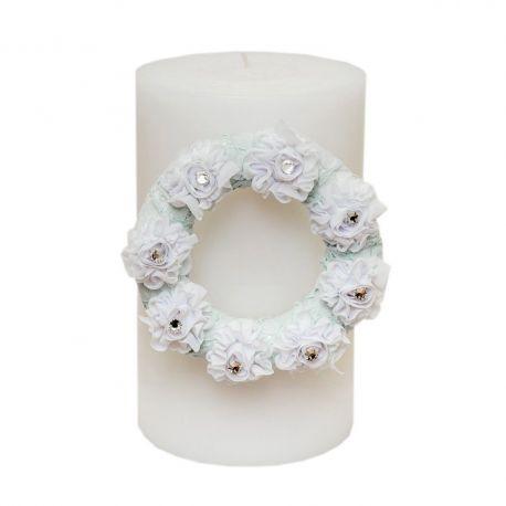 Κερί με χειροποίητο στεφάνι με λουλούδια