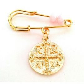 Gold-Plated Silver Baby Girl's Pin with Byzantine Talisman