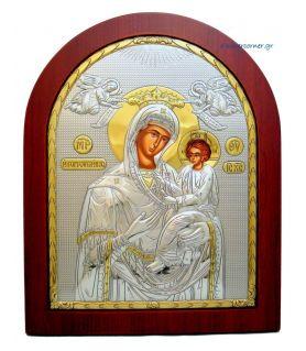 Ασημένια εικόνα Υπεραγία Θεοτόκος Γοργοϋπήκοος με επίχρυση διακόσμηση
