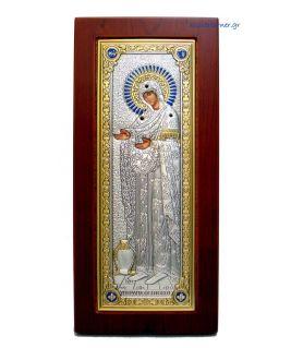 Ασημένια εικόνα Υπεραγία Θεοτόκος Γερόντισσα με επίχρυση διακόσμηση