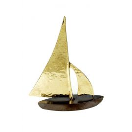 Bronze Sailboat with Hammered Sails