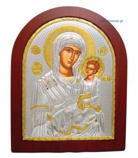 Ασημένια εικόνα Υπεραγία Θεοτόκος Γιάτρισσα με επίχρυση διακόσμηση