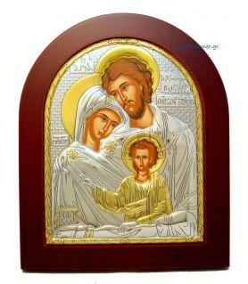 Ασημένια εικόνα Αγία Οικογένεια με επίχρυση διακόσμηση