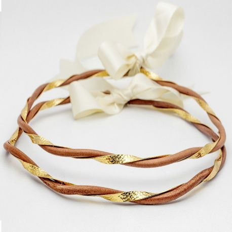 LEATHER GOLD HAMMERED Wedding Crowns