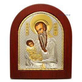 Ασημένια Εικόνα Αγιος Στυλιανός (Χρυσή Διακόσμηση)