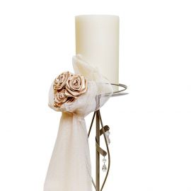 Candleholder with Satin Roses and Tulle