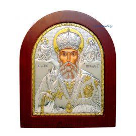 Ασημένια Εικόνα Άγιος Νικόλαος (Χρυσή Διακόσμηση)