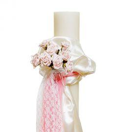 Λαμπάδα Γάμου με Τριαντάφυλλα και Δαντέλα